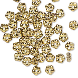 bead, preciosa, czech pressed glass, opaque gold, 5x2mm forget-me-not flower with 0.8-0.9mm hole. sold per pkg of 50.