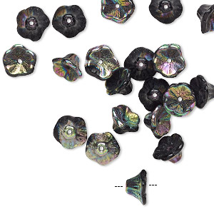 bead, preciosa, czech pressed glass, opaque jet black vitrail, 7x4.5mm flower with 0.8-0.9mm hole. sold per pkg of 20.