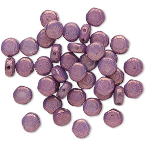 bead, preciosa, czech pressed glass, opaque purple luster, 6mm puffed disc with (2) 0.7-0.8mm holes. sold per pkg of 40.