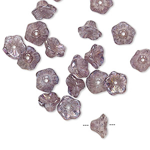 bead, preciosa, czech pressed glass, translucent lilac gold luster, 7x4.5mm flower with 0.8-0.9mm hole. sold per pkg of 20.