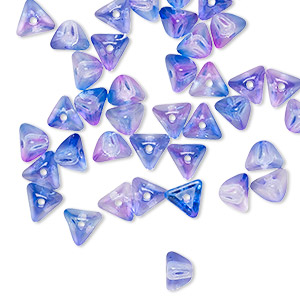 bead, preciosa, czech pressed glass, transparent jelly purple blue, 6x4mm pyramid with 0.8-0.9mm hole. sold per pkg of 40.