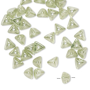 bead, preciosa, czech pressed glass, transparent peridot luster, 6x4mm pyramid with 0.8-0.9mm hole. sold per pkg of 40.
