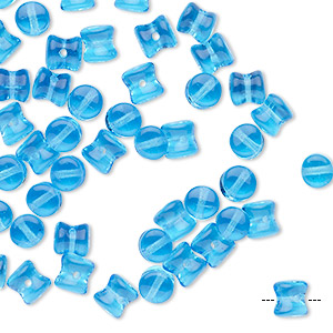 bead, preciosa pellet™, czech glass, translucent light blue, 6x4mm pellet. sold per pkg of 50.
