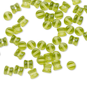 bead, preciosa pellet™, czech glass, translucent olive green, 6x4mm pellet. sold per pkg of 50.