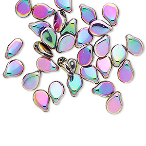 bead, preciosa pip™, czech glass, opaque purple vitrail, 7x5mm top-drilled pip. sold per pkg of 30.