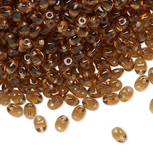 bead, preciosa twin™ pressed twin, czech pressed glass, light brown, 5x2.5mm oval with 2 holes. sold per 10-gram pkg.