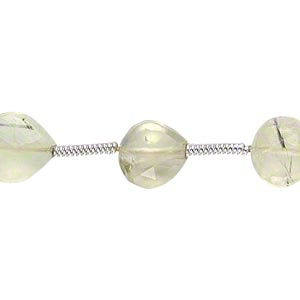bead, prehnite (natural), 6x6mm-7x7mm hand-cut faceted puffed teardrop, c grade, mohs hardness 6 to 6-1/2. sold per pkg of 16 beads.