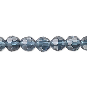 bead, pressed glass, midnight blue, 7-8mm faceted round. sold per 16-inch strand.
