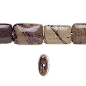bead, purple creek stone (stabilized), 14x10mm rectangle, b grade, mohs hardness 3-1/2 to 4. sold per 16-inch strand.