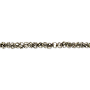 bead, pyrite (natural), 3x2mm-4x3mm hand-cut faceted rondelle, c grade, mohs hardness 6. sold per 13-inch strand.