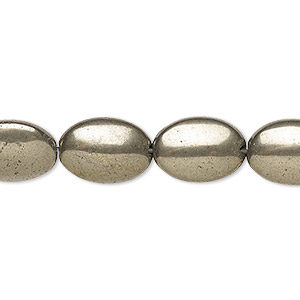 bead, pyrite (stabilized), 20x15mm flat oval, b grade, mohs hardness 6 to 6-1/2. sold per 16-inch strand.