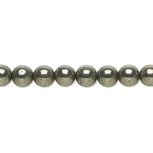 bead, pyrite (stabilized), 6mm round, b grade, mohs hardness 6. sold per 16-inch strand.
