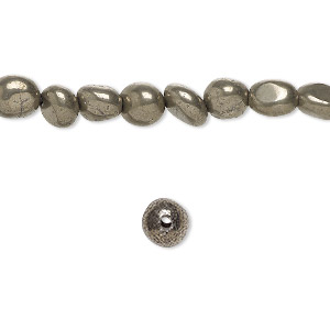 bead, pyrite (stabilized), small pebble with 0.5-1.5mm hole, mohs hardness 6 to 6-1/2. sold per 16-inch strand.