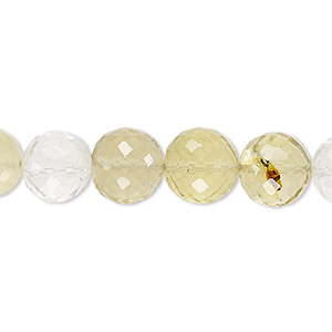 bead, quartz crystal / lemon quartz / smoky lemon quartz (natural / heated / irradiated), 9-10mm hand-cut faceted round, b+ grade, mohs hardness 7. sold per 8-inch strand.