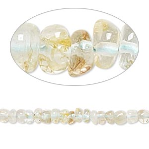 bead, quartz crystal and aquamarine (natural / heated), 3x1mm-4x3mm hand-cut rondelle, d grade, mohs hardness 7-1/2 to 8. sold per 14-inch strand.