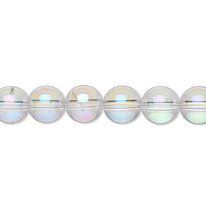 bead, quartz crystal (coated), ab, 8mm round, b grade, mohs hardness 7. sold per 16-inch strand.