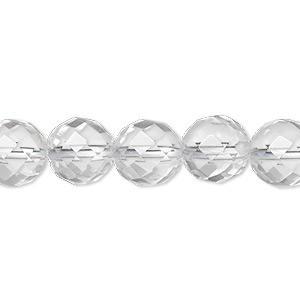 bead, quartz crystal (natural), 10mm faceted round, a- grade, mohs hardness 7. sold per 8-inch strand, approximately 20 beads.