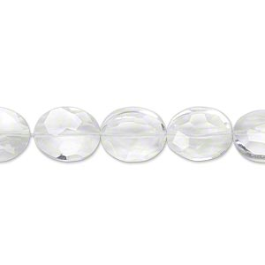 bead, quartz crystal (natural), 11x9mm hand-cut faceted flat oval, b+ grade, mohs hardness 7. sold per pkg of 5.