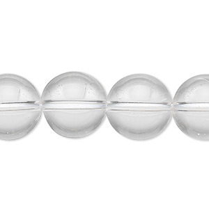 bead, quartz crystal (natural), 14mm round, a- grade, mohs hardness 7. sold per 8-inch strand, approximately 15 beads.