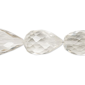 bead, quartz crystal (natural), 22x14mm-29x19mm hand-cut faceted teardrop, b+ grade, mohs hardness 7. sold per approximately 7-inch strand.