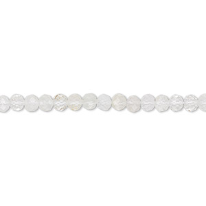 bead, quartz crystal (natural), 3mm hand-cut faceted rondelle, c grade, mohs hardness 7. sold per 13-inch strand.