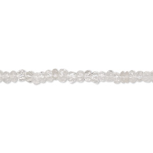 bead, quartz crystal (natural), 3x1mm-4x2mm hand-cut faceted rondelle, b- grade, mohs hardness 7. sold per 13-inch strand.
