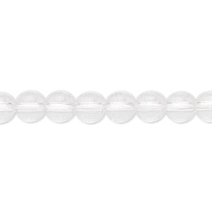 bead, quartz crystal (natural), 6-7mm round, b grade, mohs hardness 7. sold per 16-inch strand.