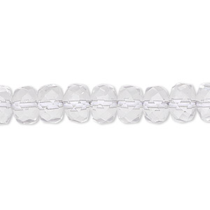 bead, quartz crystal (natural), 8x5mm hand-cut faceted rondelle, b grade, mohs hardness 7. sold per 15-1/2 inch strand.