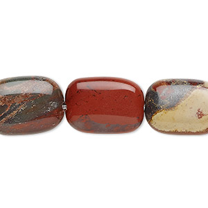 bead, rainbow brecciated jasper (natural), 18x13mm flat pillow, b grade, mohs hardness 6-1/2 to 7. sold per 16-inch strand.