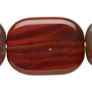 bead, rainbow brecciated jasper (natural), 40x30mm flat pillow, b grade, mohs hardness 6-1/2 to 7. sold per 16-inch strand.