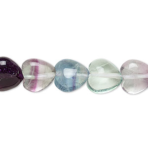 bead, rainbow fluorite (natural), 10x10mm puffed heart, a grade, mohs hardness 4. sold per 16-inch strand.