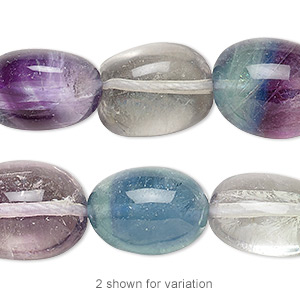 bead, rainbow fluorite (natural), medium tumbled nugget, mohs hardness 4. sold per 16-inch strand.