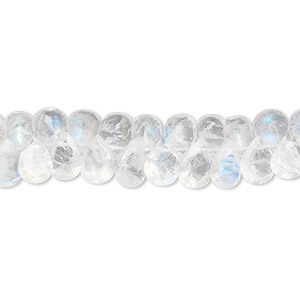 bead, rainbow moonstone (natural), 7x5mm hand-cut top-drilled faceted briolette, c grade, mohs hardness 6 to 6-1/2. sold per 8-inch strand, approximately 70 beads.