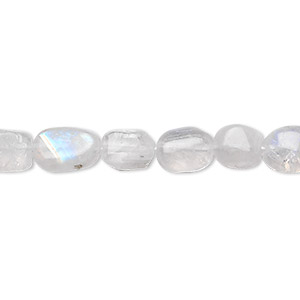 bead, rainbow moonstone (natural), 8x6mm-12x6mm hand-cut flat oval, c grade, mohs hardness 6 to 6-1/2. sold per 16-inch strand.