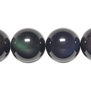 bead, rainbow obsidian (natural), 18mm round, b grade, mohs hardness 5 to 5-1/2. sold per 8-inch strand, approximately 10 beads.