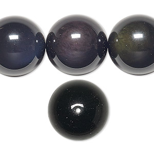 bead, rainbow obsidian (natural), 18mm round, b grade, mohs hardness 5 to 5-1/2. sold per 16-inch strand.