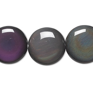 bead, rainbow obsidian (natural), 20mm flat round, a grade, mohs hardness 5 to 5-1/2. sold per 16-inch strand.