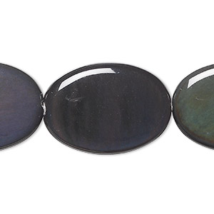 bead, rainbow obsidian (natural), 35x25mm flat oval, a grade, mohs hardness 5 to 5-1/2. sold per 8-inch strand, approximately 5 beads.