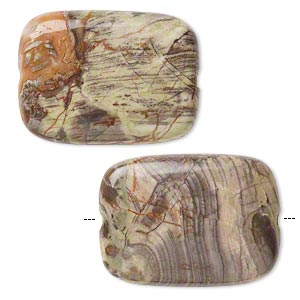 bead, rainbow rhyolite (natural), 30x22mm rectangle, b grade, mohs hardness 6-1/2 to 7. sold per pkg of 2.