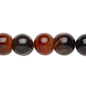 bead, red agate / black agate / brown agate (dyed / heated), 11-12mm round, c grade, mohs hardness 6-1/2 to 7. sold per 14-inch strand.
