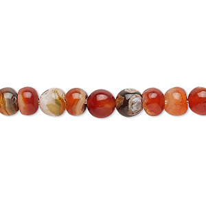 bead, red agate (dyed / heated), 4-6mm uneven round, c- grade, mohs hardness 6-1/2 to 7. sold per 13-inch strand.