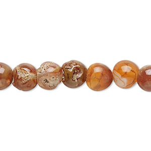 bead, red agate (dyed / heated), 6-8mm uneven round, d grade, mohs hardness 6-1/2 to 7. sold per 13-inch strand.
