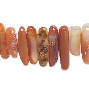 bead, red agate (dyed / heated), extra-large top-drilled hawaiian chip, mohs hardness 6-1/2 to 7. sold per 16-inch strand.