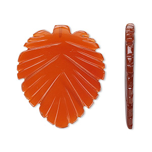 bead, red agate (dyed), (1) 29x25mm and (2) 15.5x13.5mm top-drilled double-sided carved leaf, b grade, mohs hardness 6-1/2 to 7. sold per 3-piece set.