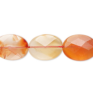 bead, red agate (heated / dyed), 16x12mm faceted puffed oval, b grade, mohs hardness 6-1/2 to 7. sold per 16-inch strand.
