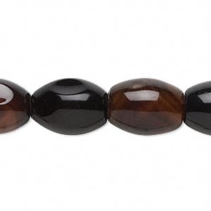 bead, red and black agate (dyed / heated), 16x12mm oval, c grade, mohs hardness 6-1/2 to 7. sold per 15-inch strand.