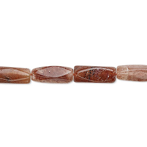 bead, red aventurine (natural), 9x4mm-17x5mm hand-cut faceted square tube, c- grade, mohs hardness 7. sold per 13-inch strand.