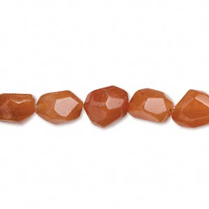 bead, red aventurine (natural), medium to large tumbled faceted pebble, mohs hardness 7. sold per 16-inch strand.