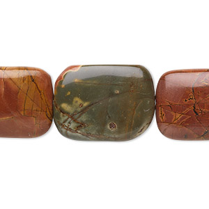 bead, red creek jasper (stabilized), 20x15mm rectangle, b grade, mohs hardness 6-1/2 to 7. sold per 16-inch strand.
