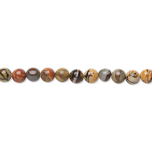 bead, red creek jasper (stabilized), 4mm round, b grade, mohs hardness 6-1/2 to 7. sold per 16-inch strand.